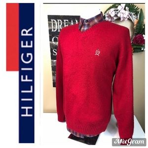 Tommy Hilfiger 100% Wool Red V-Neck Sweater XXL